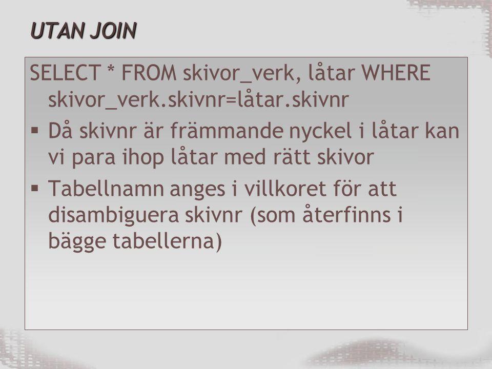 UTAN JOIN SELECT * FROM skivor_verk, låtar WHERE skivor_verk.skivnr=låtar.skivnr.