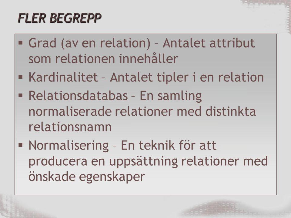 FLER BEGREPP Grad (av en relation) – Antalet attribut som relationen innehåller. Kardinalitet – Antalet tipler i en relation.