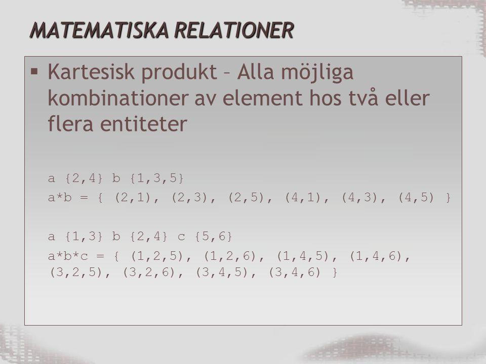 MATEMATISKA RELATIONER