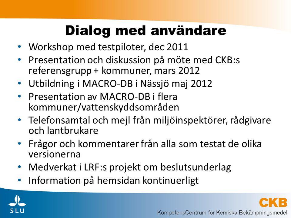 Dialog med användare Workshop med testpiloter, dec 2011