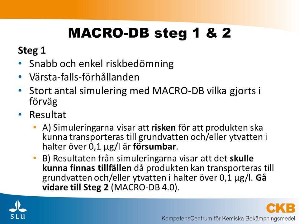 MACRO-DB steg 1 & 2 Steg 1 Snabb och enkel riskbedömning