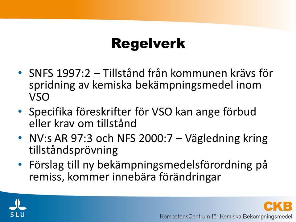 Regelverk SNFS 1997:2 – Tillstånd från kommunen krävs för spridning av kemiska bekämpningsmedel inom VSO.