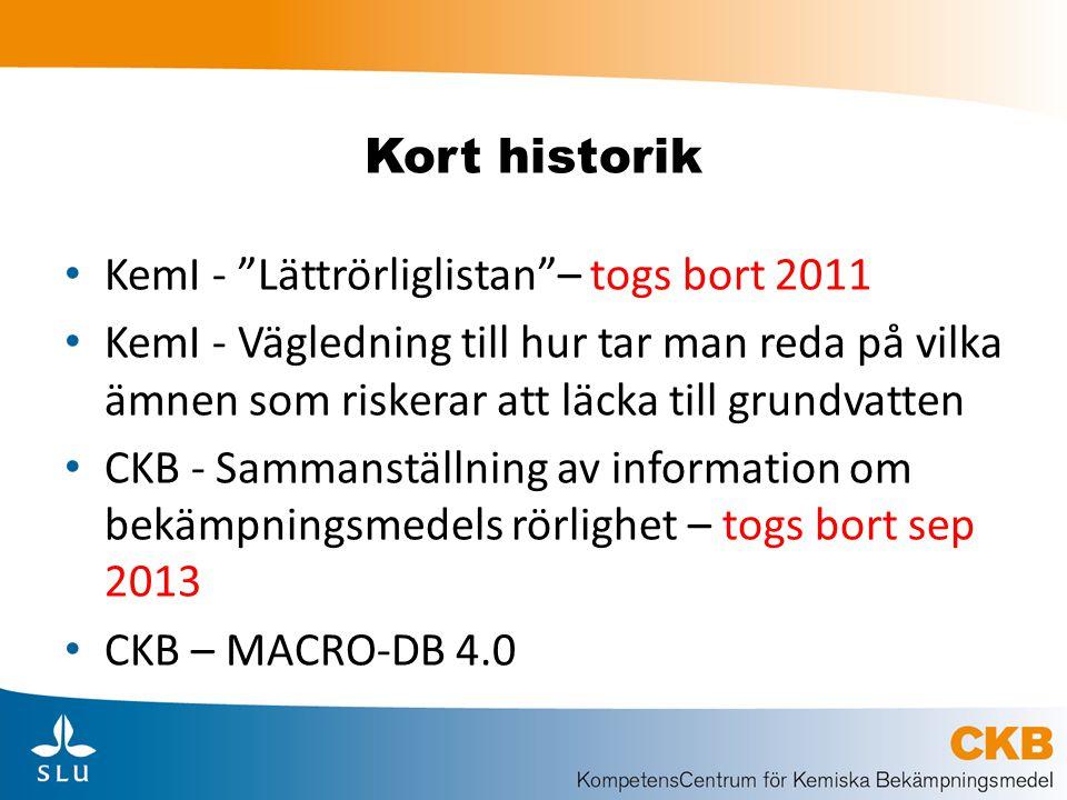 Kort historik KemI - Lättrörliglistan – togs bort 2011