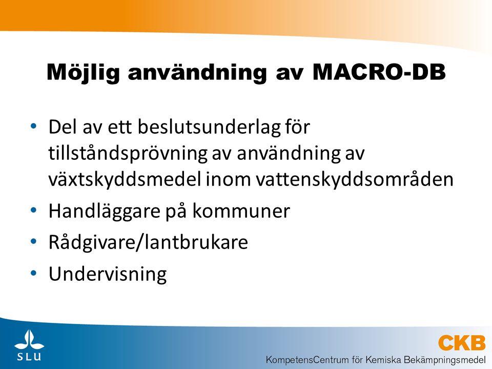 Möjlig användning av MACRO-DB