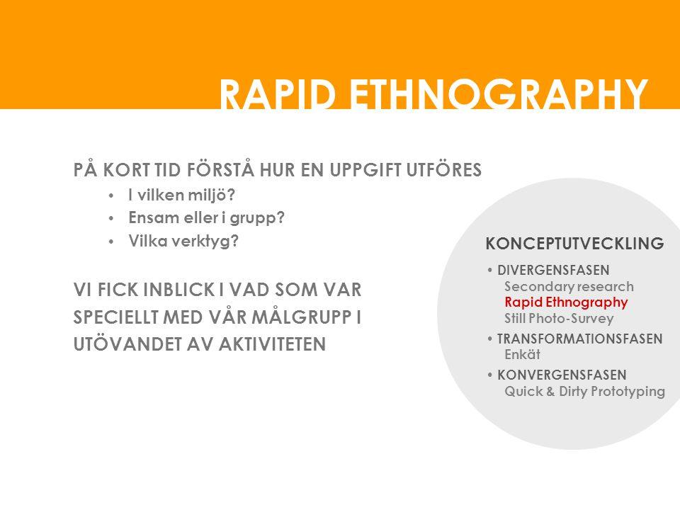 RAPID ETHNOGRAPHY PÅ KORT TID FÖRSTÅ HUR EN UPPGIFT UTFÖRES