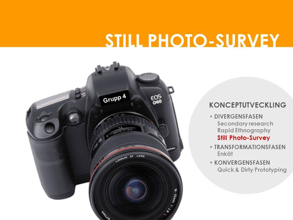 STILL PHOTO-SURVEY KONCEPTUTVECKLING Grupp 4 DIVERGENSFASEN