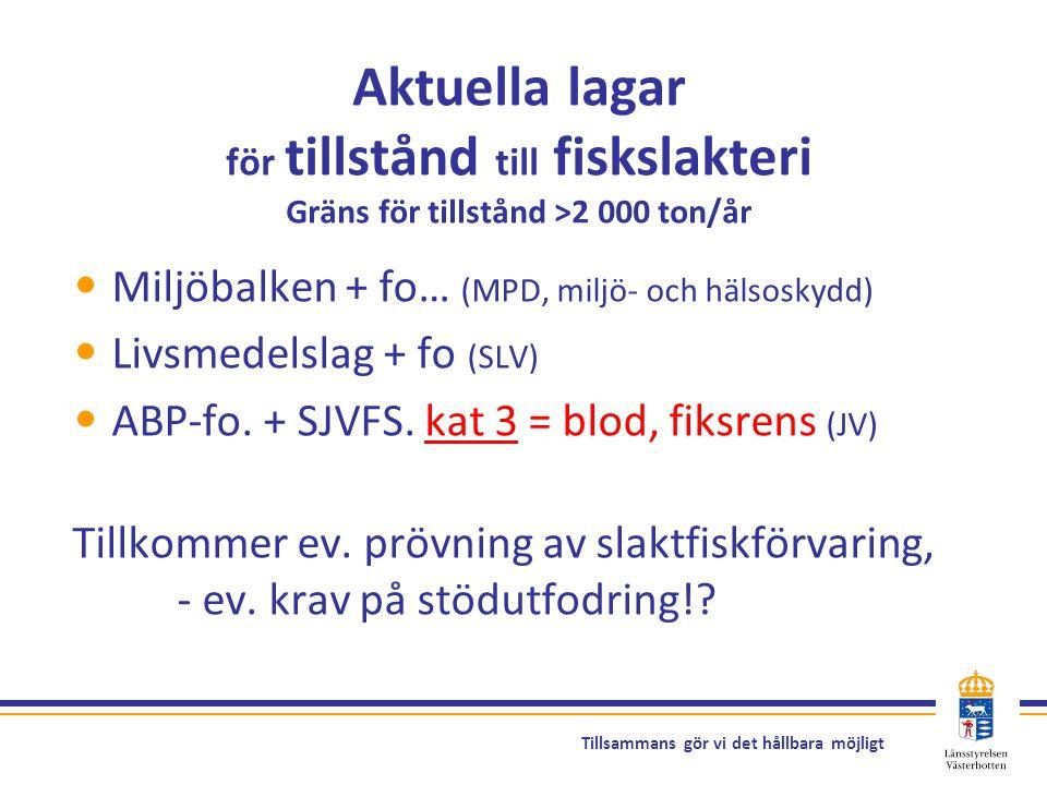 Aktuella lagar för tillstånd till fiskslakteri Gräns för tillstånd >2 000 ton/år