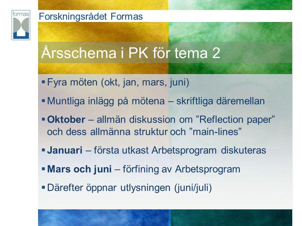 Årsschema i PK för tema 2 Fyra möten (okt, jan, mars, juni)