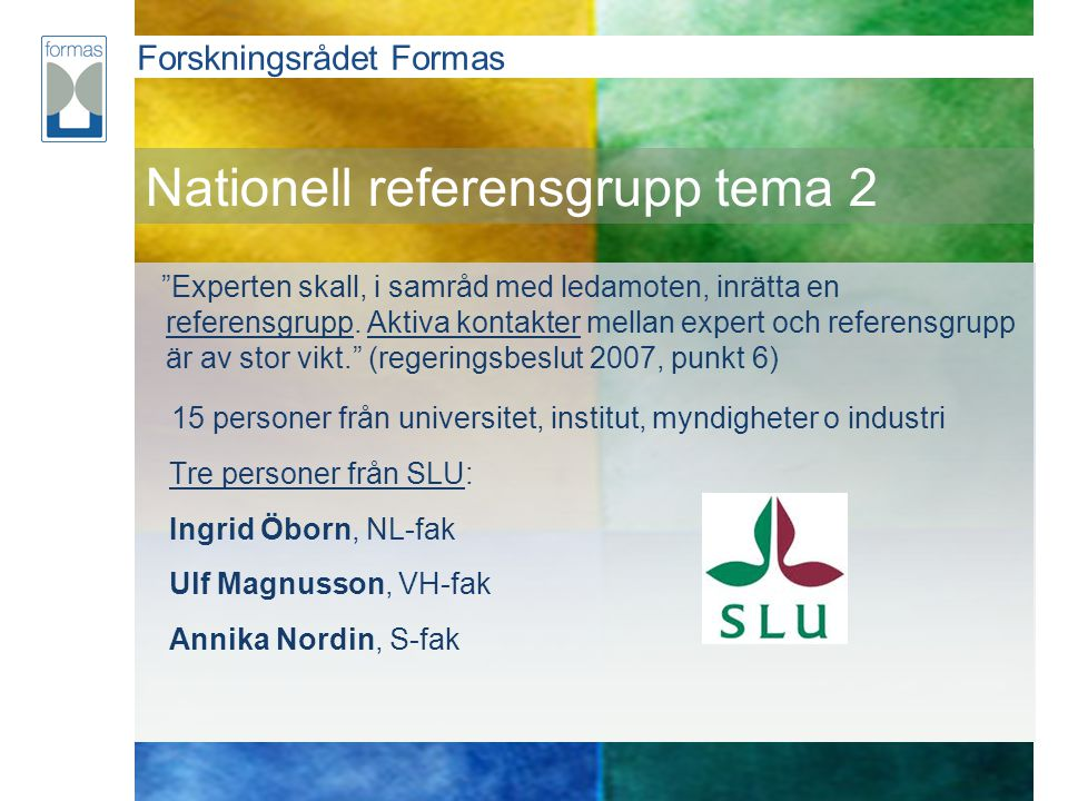 Nationell referensgrupp tema 2