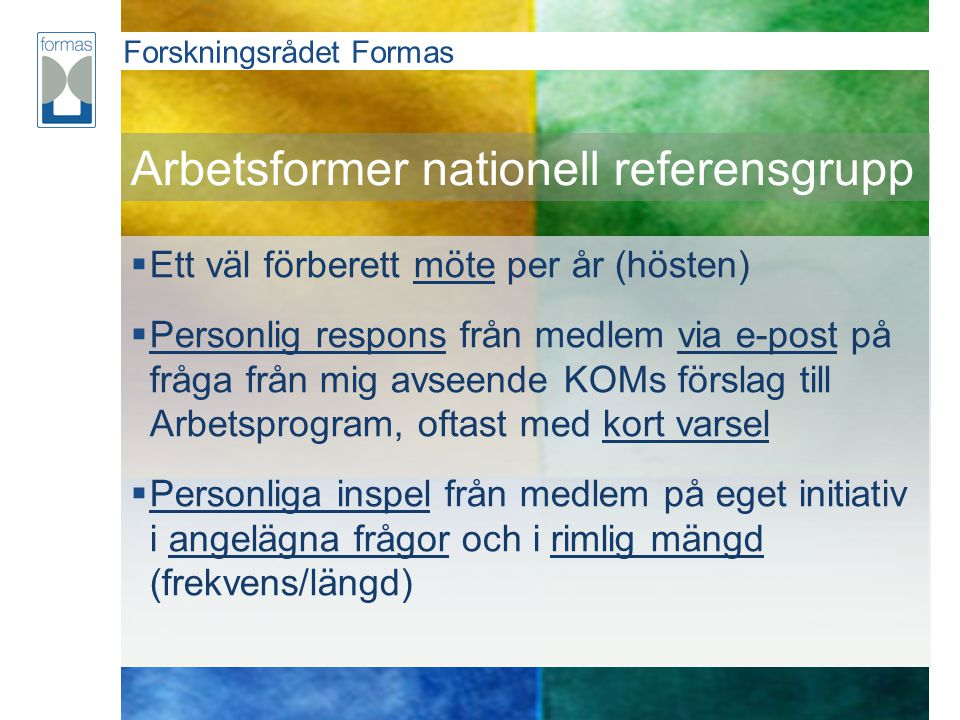 Arbetsformer nationell referensgrupp
