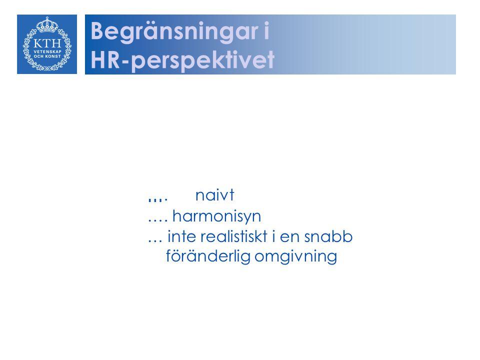 Begränsningar i HR-perspektivet