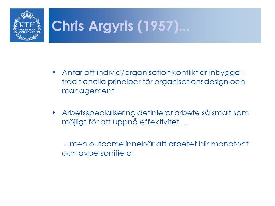 Chris Argyris (1957)... Antar att individ/organisation konflikt är inbyggd i traditionella principer för organisationsdesign och management.