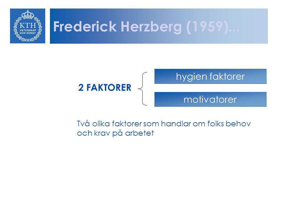 Frederick Herzberg (1959)... hygien faktorer 2 FAKTORER motivatorer