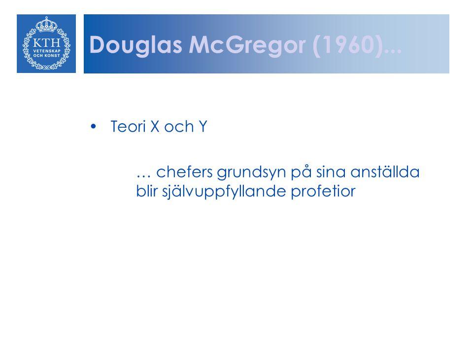 Douglas McGregor (1960)... Teori X och Y
