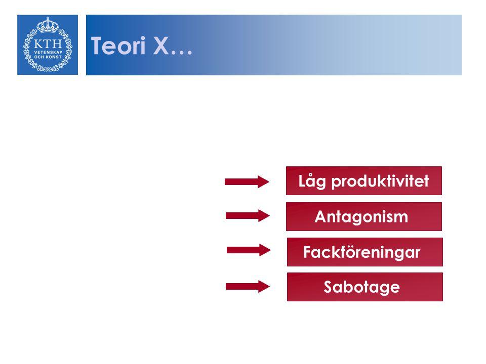 Teori X… Låg produktivitet Antagonism Fackföreningar Sabotage