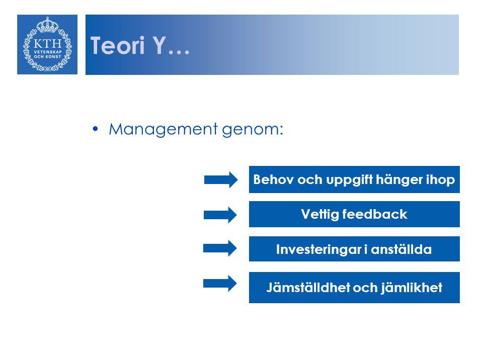 Teori Y… Management genom: Behov och uppgift hänger ihop