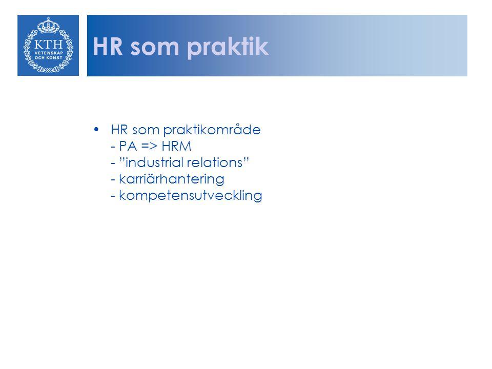 HR som praktik HR som praktikområde - PA => HRM - industrial relations - karriärhantering - kompetensutveckling.