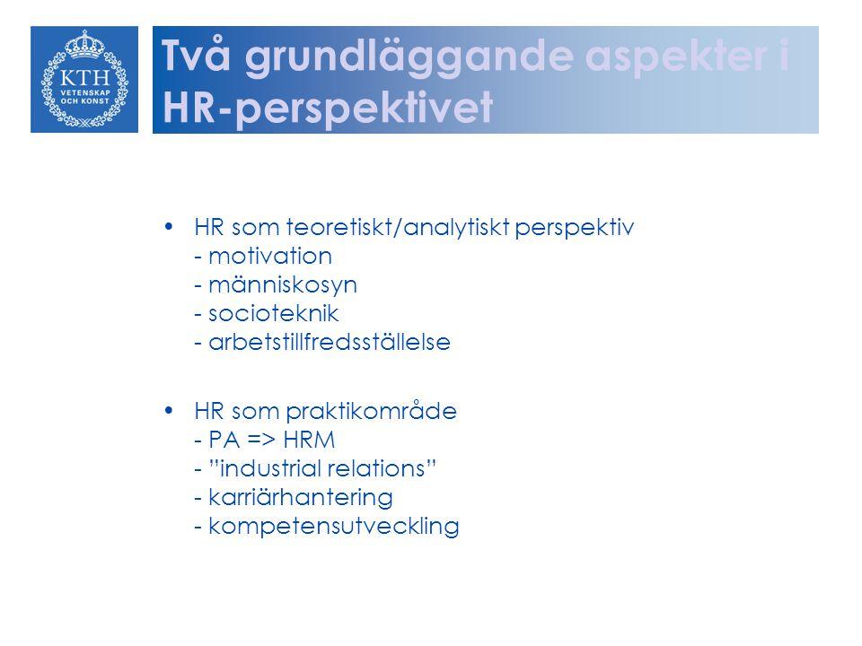Två grundläggande aspekter i HR-perspektivet