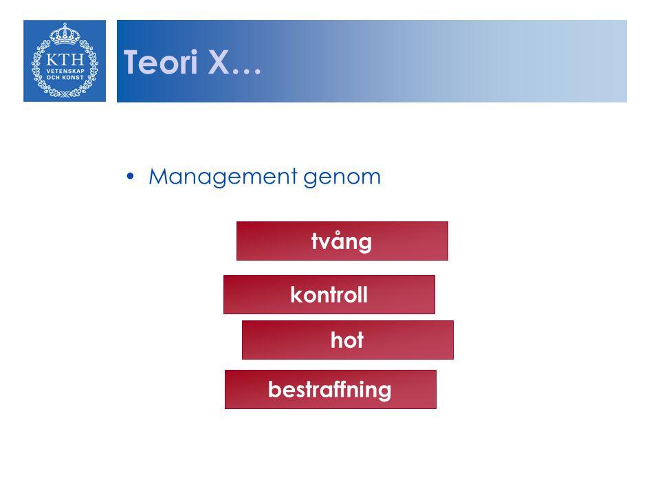 Teori X… Management genom tvång kontroll hot bestraffning