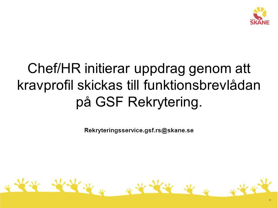 Chef/HR initierar uppdrag genom att kravprofil skickas till funktionsbrevlådan på GSF Rekrytering.