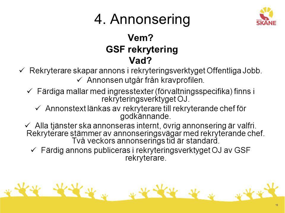 4. Annonsering Vem GSF rekrytering Vad