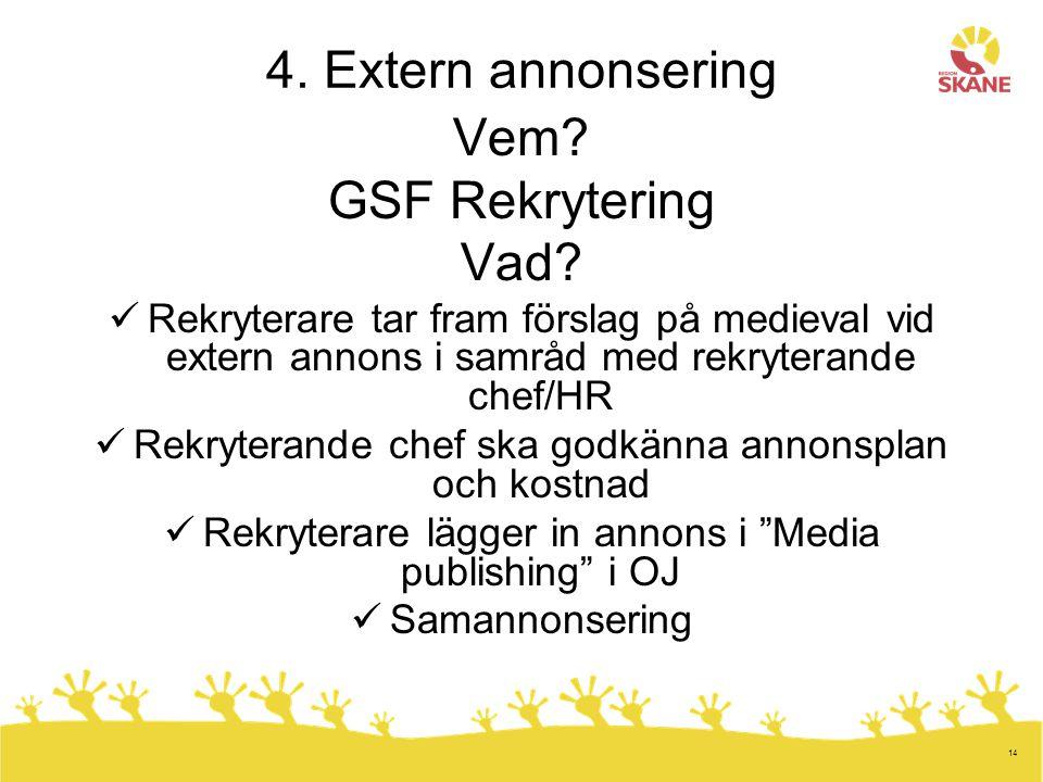4. Extern annonsering Vem GSF Rekrytering Vad
