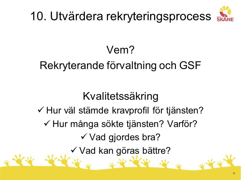 10. Utvärdera rekryteringsprocess