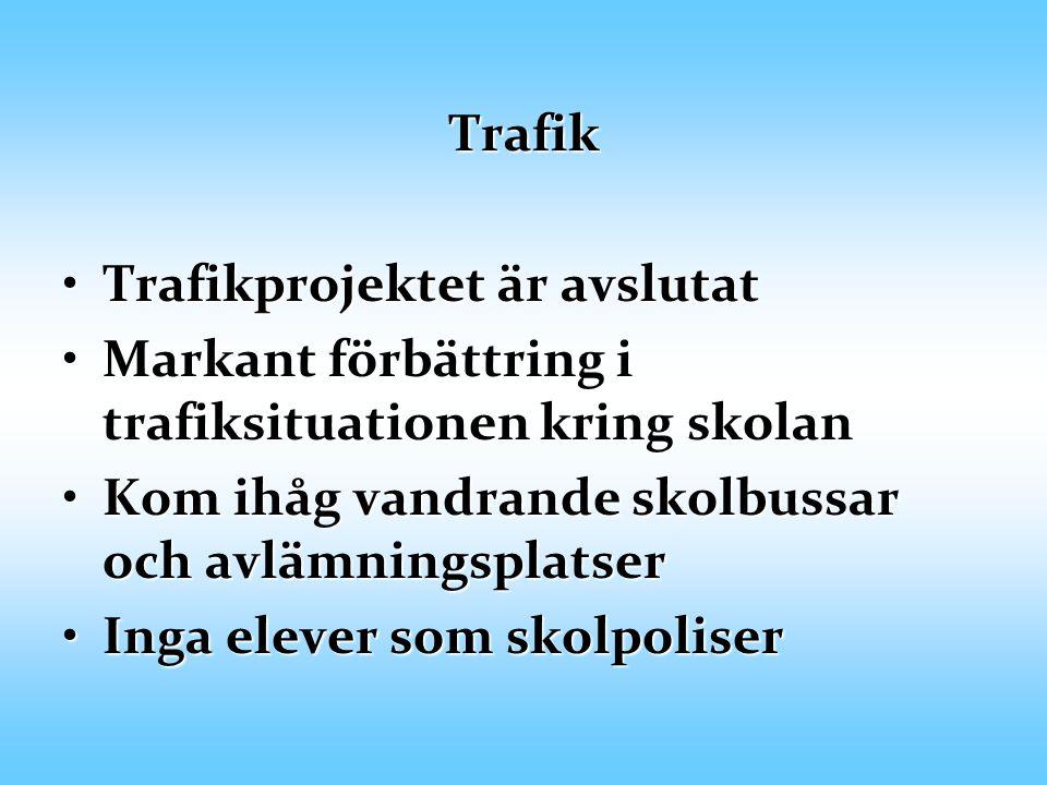 Trafik Trafikprojektet är avslutat. Markant förbättring i trafiksituationen kring skolan. Kom ihåg vandrande skolbussar och avlämningsplatser.