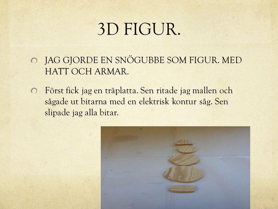 3D FIGUR. JAG GJORDE EN SNÖGUBBE SOM FIGUR. MED HATT OCH ARMAR.