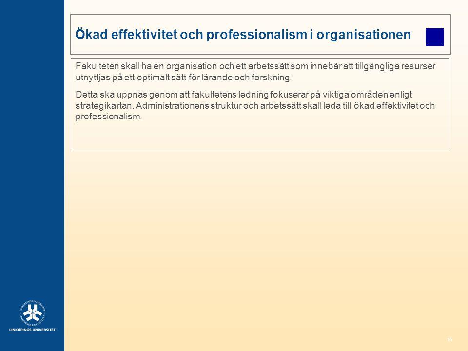 Ökad effektivitet och professionalism i organisationen