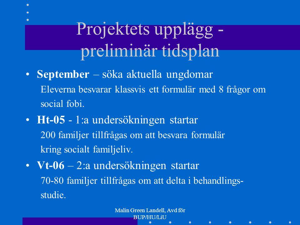 Projektets upplägg - preliminär tidsplan