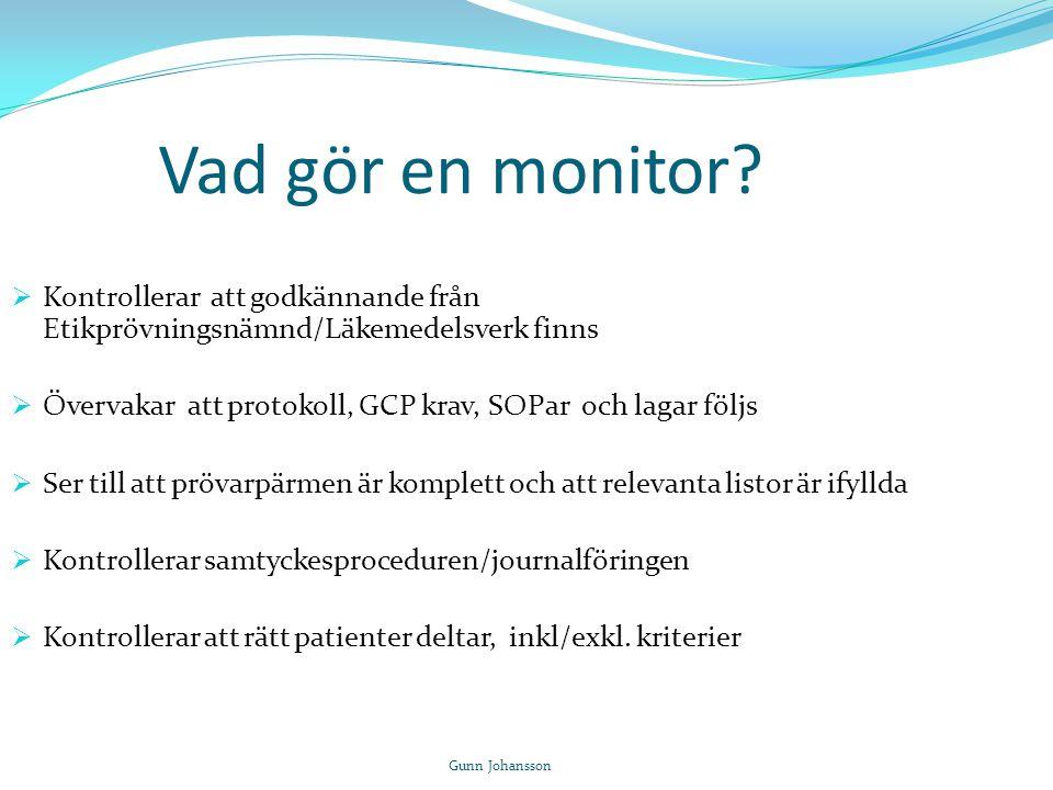 Vad gör en monitor Kontrollerar att godkännande från Etikprövningsnämnd/Läkemedelsverk finns.