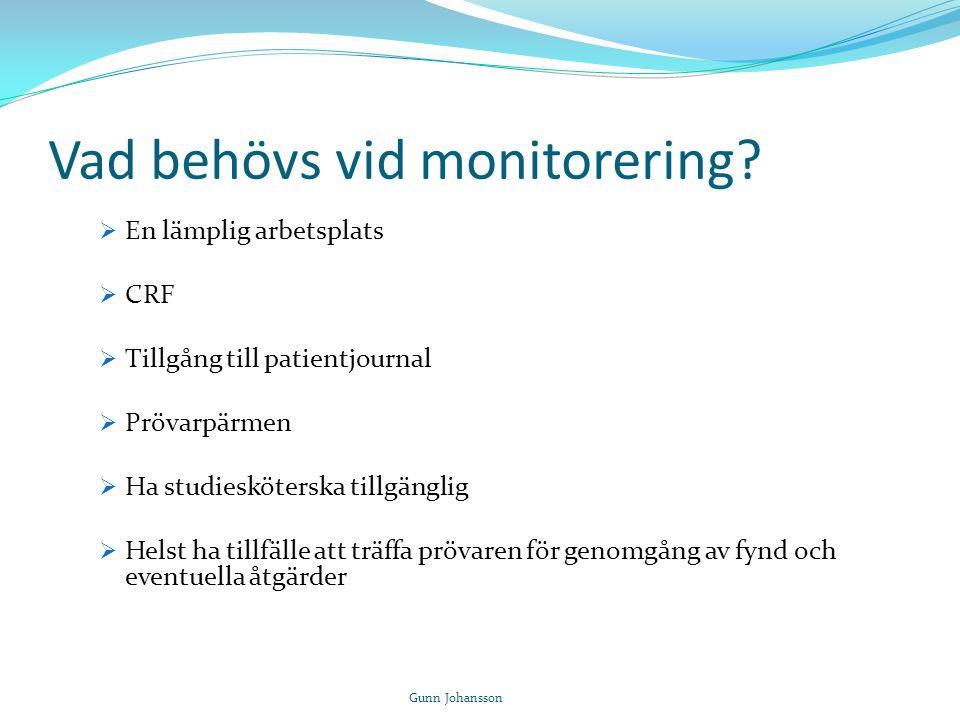 Vad behövs vid monitorering