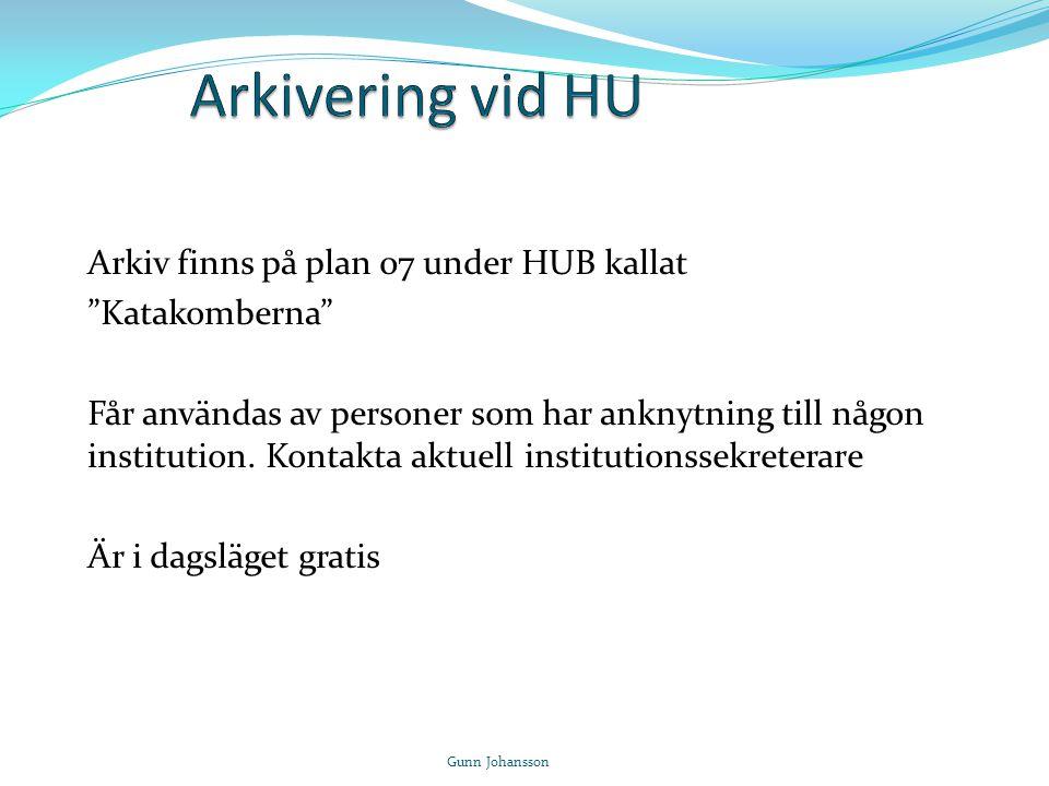 Arkivering vid HU Arkiv finns på plan 07 under HUB kallat