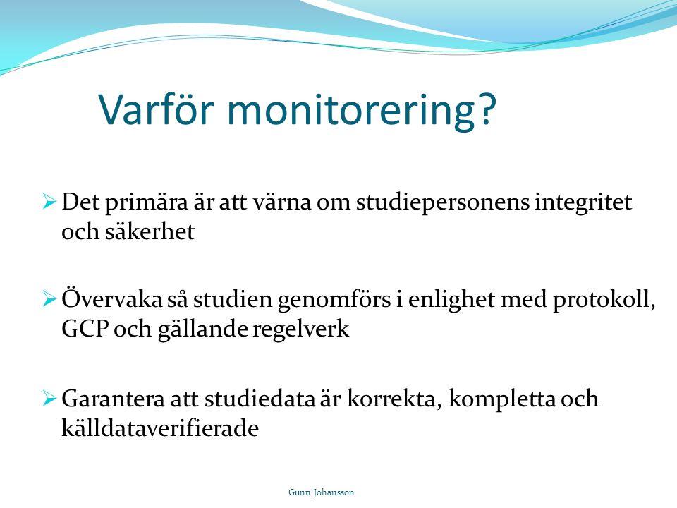 Varför monitorering Det primära är att värna om studiepersonens integritet och säkerhet.