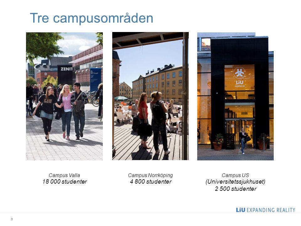 Tre campusområden (Universitetssjukhuset) 2 500 studenter