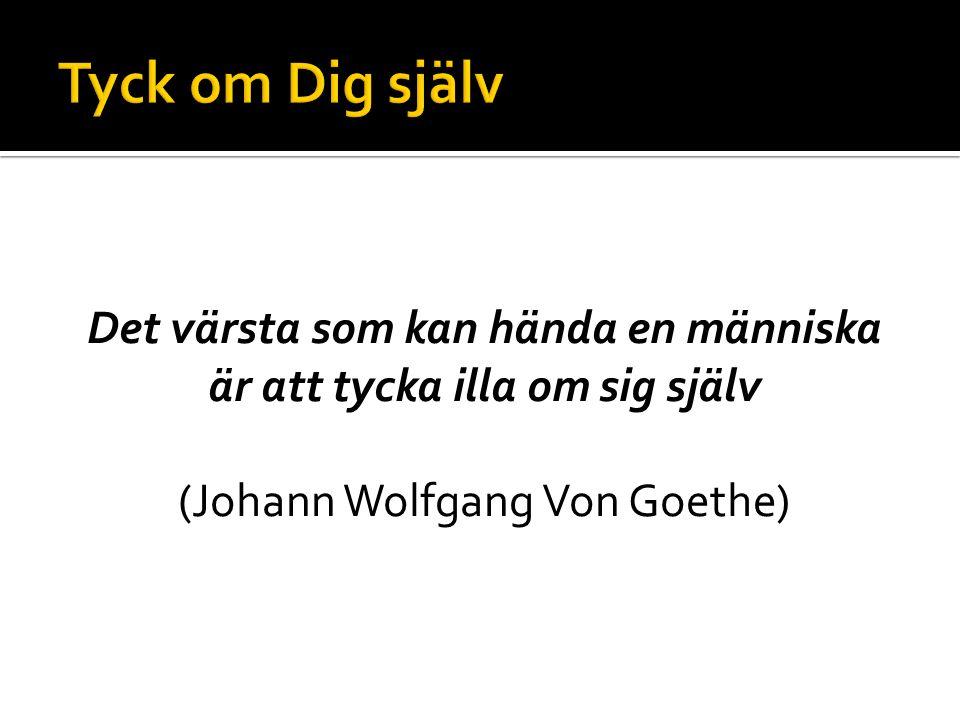 Tyck om Dig själv Det värsta som kan hända en människa är att tycka illa om sig själv (Johann Wolfgang Von Goethe)