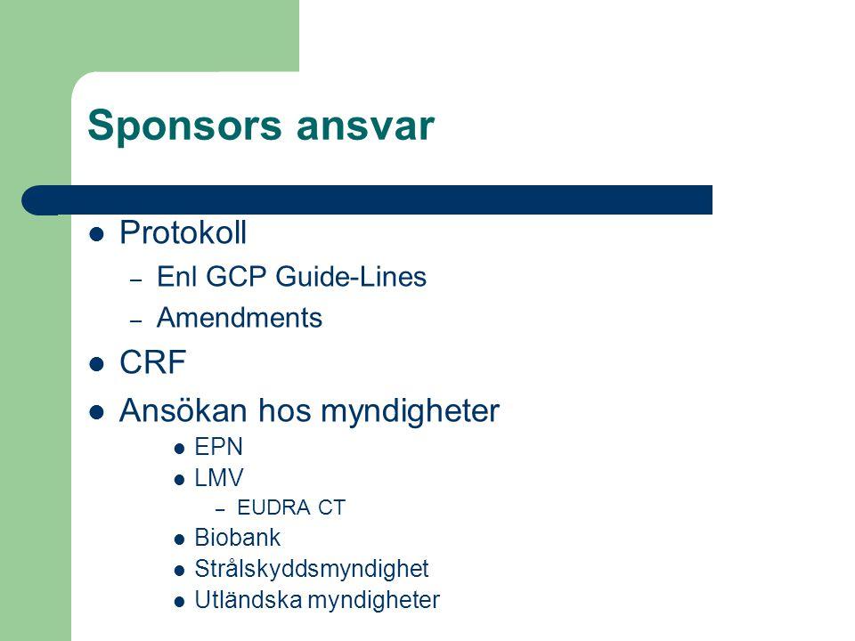 Sponsors ansvar Protokoll CRF Ansökan hos myndigheter