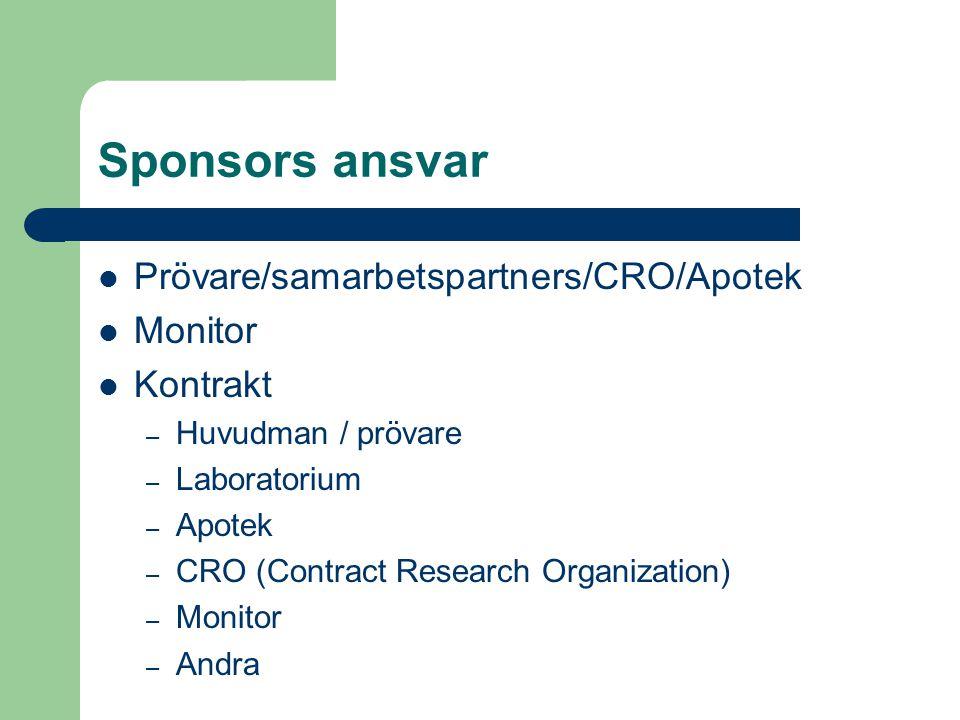 Sponsors ansvar Prövare/samarbetspartners/CRO/Apotek Monitor Kontrakt