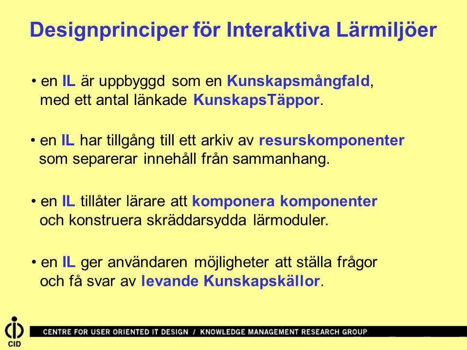 Designprinciper för Interaktiva Lärmiljöer