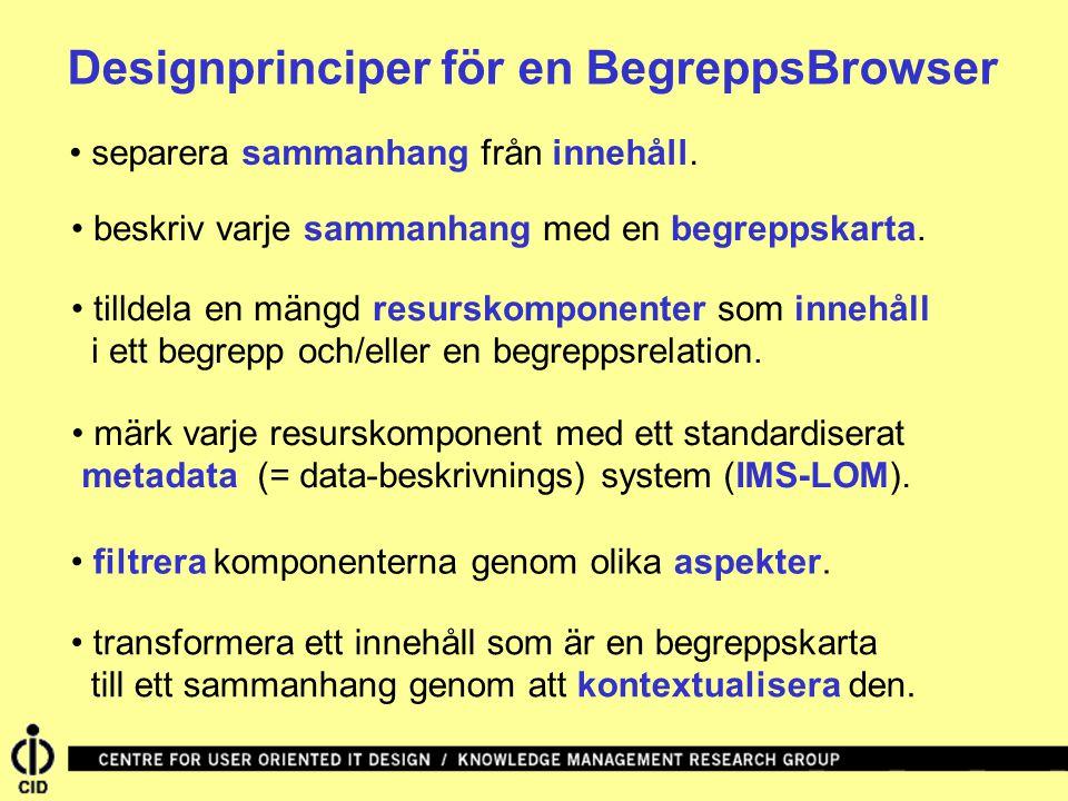 Designprinciper för en BegreppsBrowser