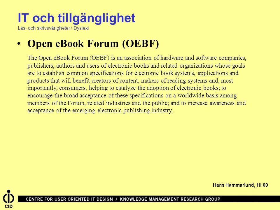 IT och tillgänglighet Open eBook Forum (OEBF)