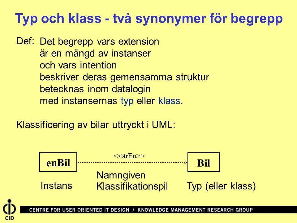 Typ och klass - två synonymer för begrepp