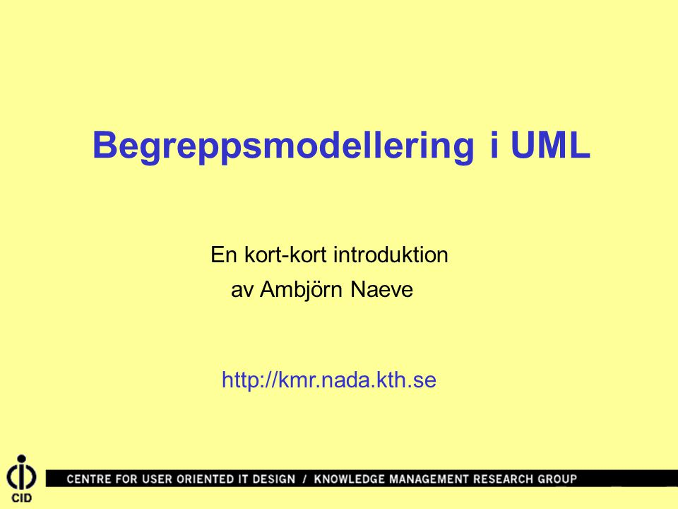 Begreppsmodellering i UML