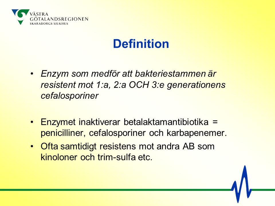 Definition Enzym som medför att bakteriestammen är resistent mot 1:a, 2:a OCH 3:e generationens cefalosporiner.