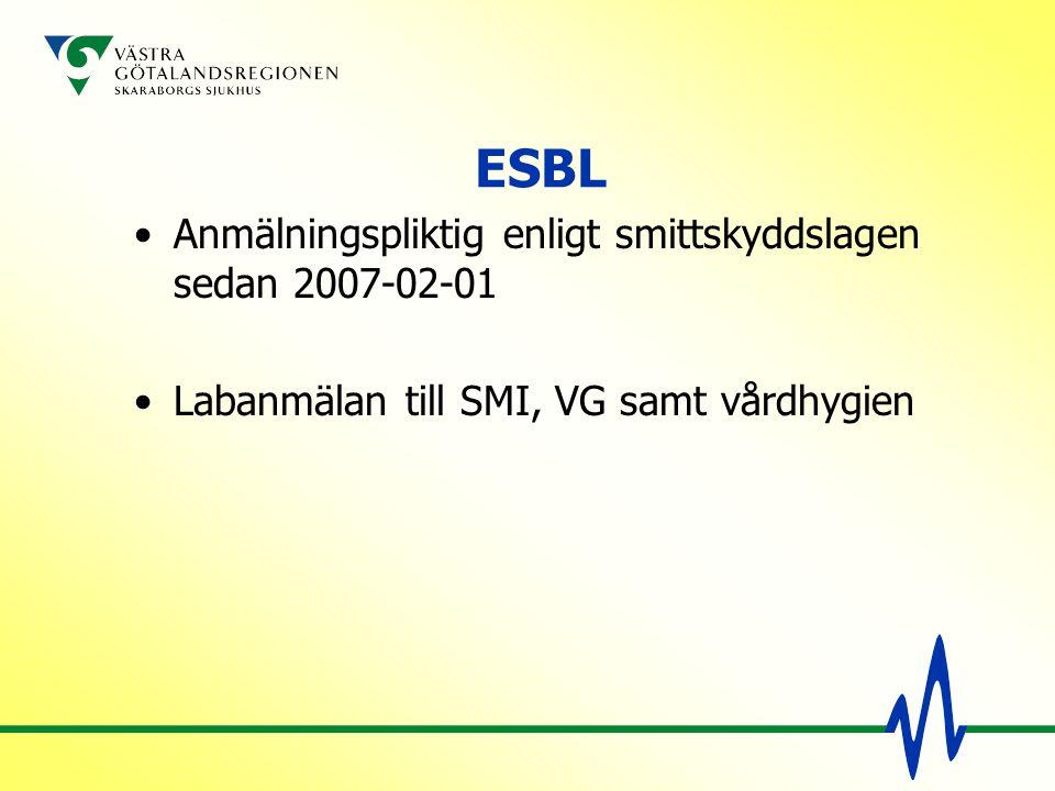 ESBL Anmälningspliktig enligt smittskyddslagen sedan 2007-02-01