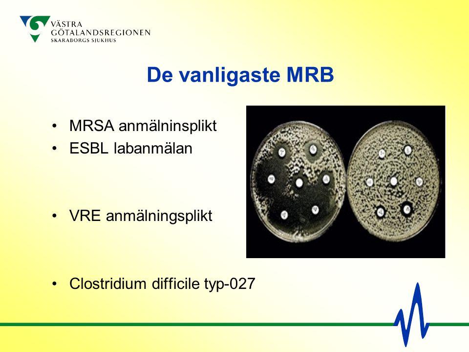 De vanligaste MRB MRSA anmälninsplikt ESBL labanmälan