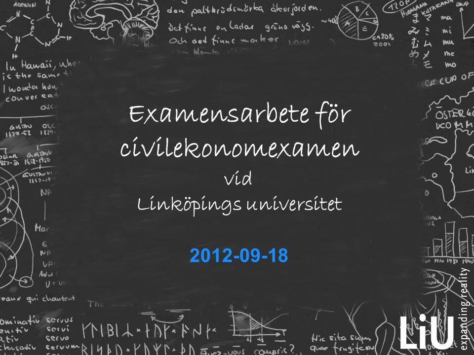 Examensarbete för civilekonomexamen vid Linköpings universitet