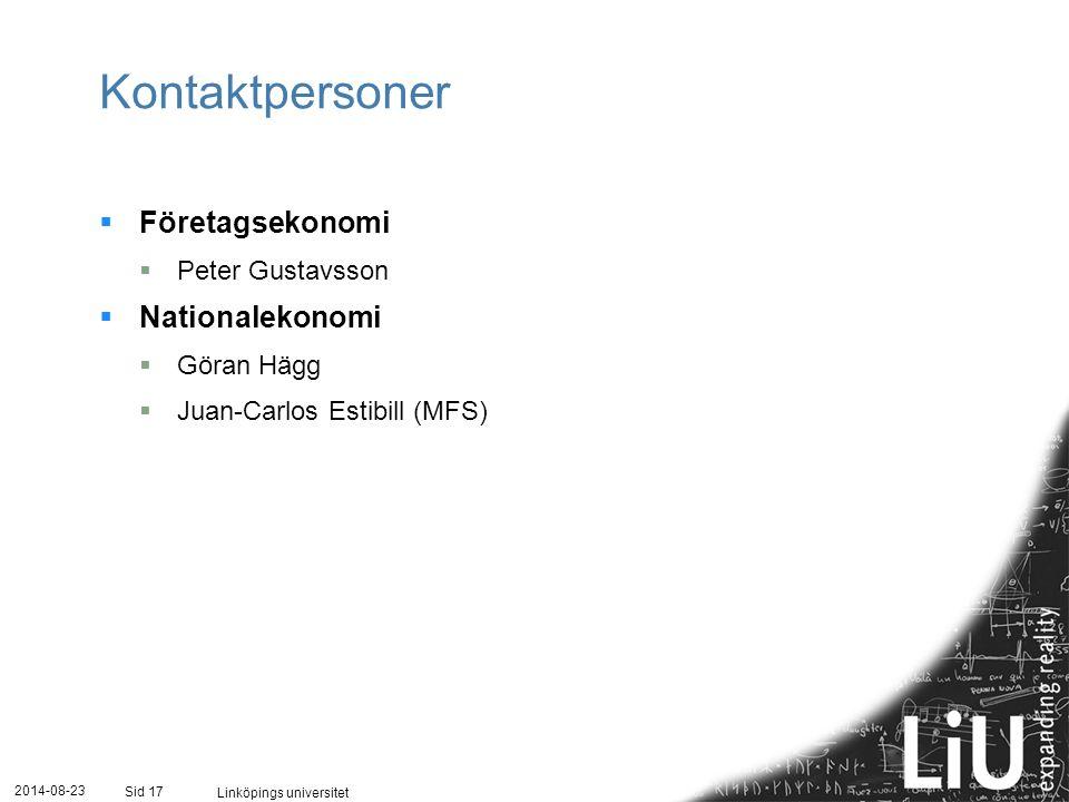 Kontaktpersoner Företagsekonomi Nationalekonomi Peter Gustavsson