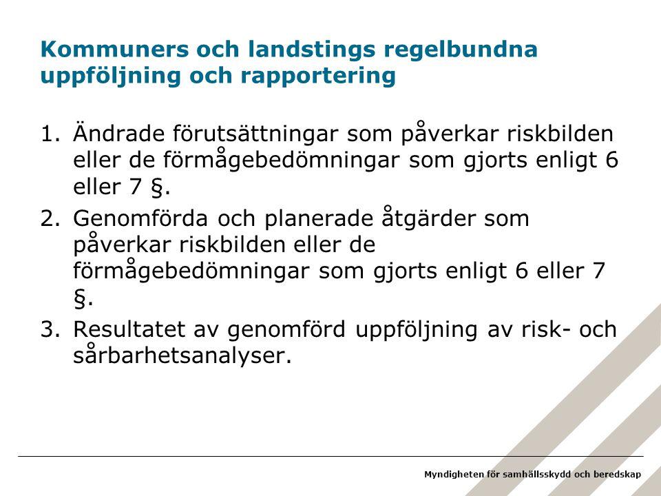 Kommuners och landstings regelbundna uppföljning och rapportering